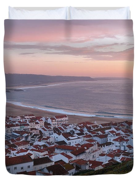 Twilight At Nazare Village Duvet Cover