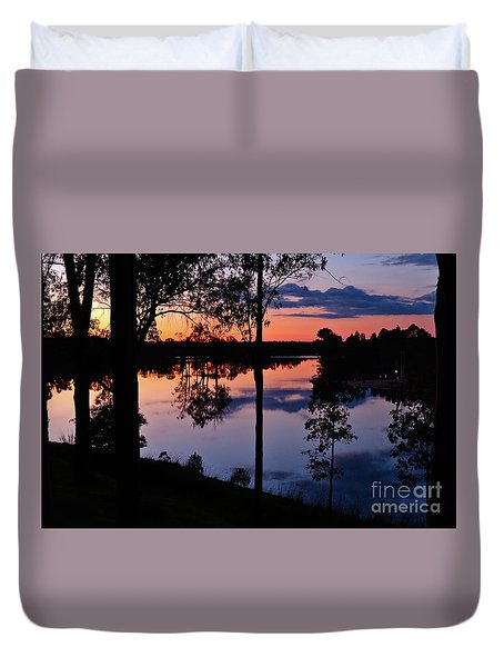 Twilight By The Lake Duvet Cover