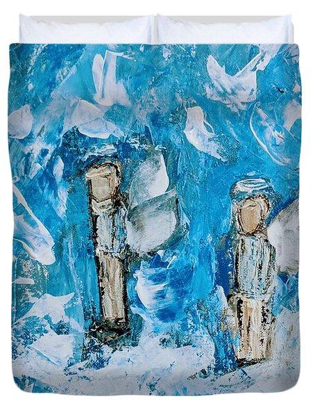 Twin Boy Angels Duvet Cover