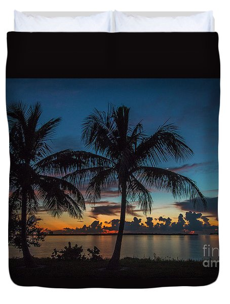 Duvet Cover featuring the photograph Twin Palms Sunrise by Tom Claud