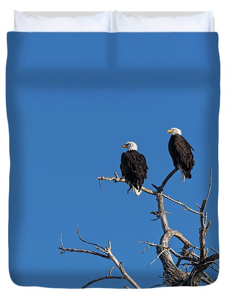 Two Bald Eagles In A Tree Duvet Cover