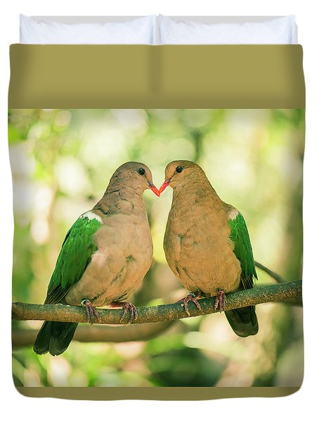 Two Colourful Doves Resting Outside On A Branch. Duvet Cover