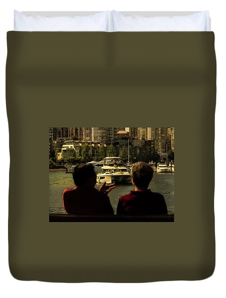 Two Friends At The Vancouver Bay Duvet Cover