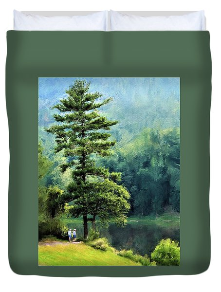 Two Guys And A Pond Duvet Cover