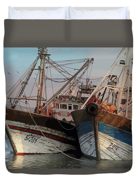 Two Old Fishing Boats At Rest Duvet Cover