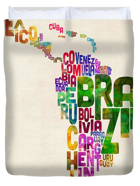 Typography Map Of Latin America, Mexico, Central And South America Duvet Cover