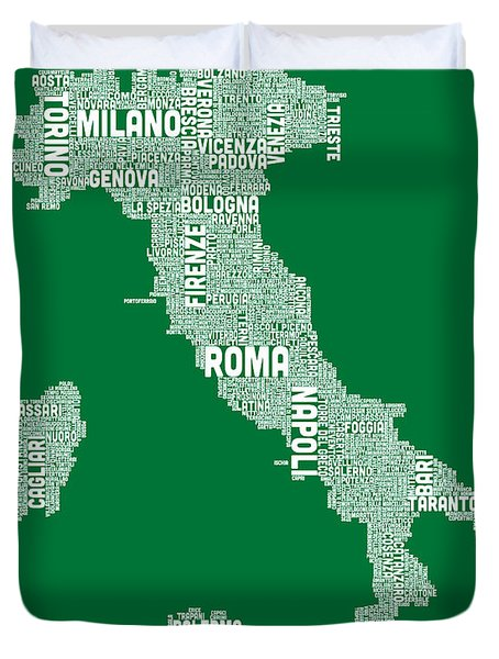 Typography Text Map Of Italy Map Duvet Cover