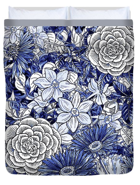 Ultramarine Blue Watercolor Botanical Flowers Garden Pattern I Duvet Cover