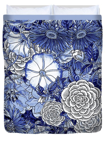 Ultramarine Blue Watercolor Botanical Flowers Garden Pattern IIi Duvet Cover