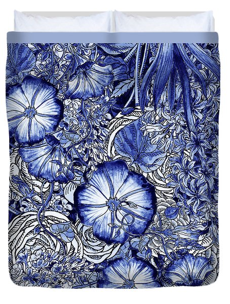 Ultramarine Blue Watercolor Botanical Flowers Garden Pattern Vi Duvet Cover