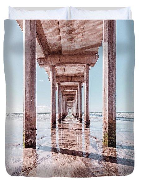 Under The Boardwalk Scripps Pier San Diego Square Duvet Cover
