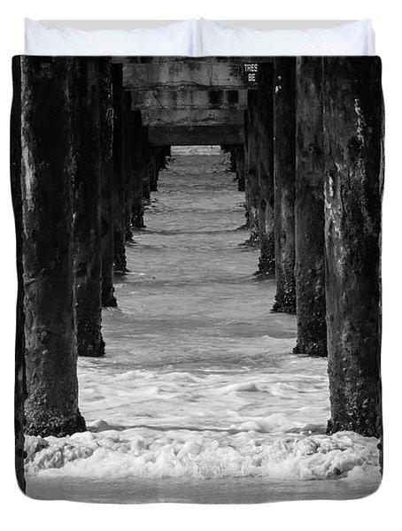 Under The Pier #2 Bw Duvet Cover