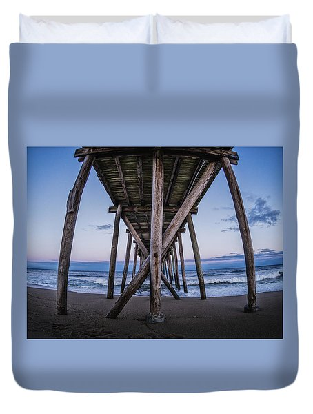 Duvet Cover featuring the photograph Under The Pier by Steve Stanger