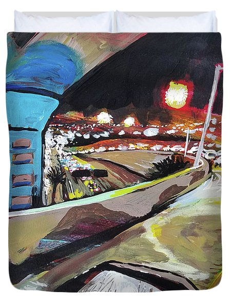 Duvet Cover featuring the painting Underpass At Nighht by Tilly Strauss