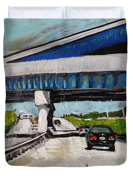 Duvet Cover featuring the painting Underpass Z by Tilly Strauss