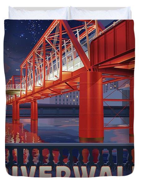 Union Railroad Bridge - Riverwalk Duvet Cover