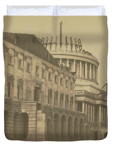 United States Capitol Under Construction Duvet Cover