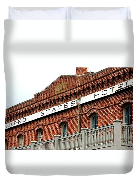 Duvet Cover featuring the photograph United States Hotel by Jerry Sodorff