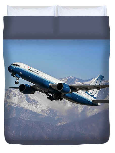 United Winter Takeoff At Los Angeles Duvet Cover