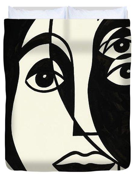 Untitled, Cubist Face Duvet Cover