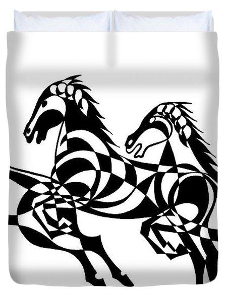 Untitled  Three Horses Duvet Cover