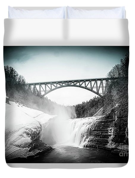Upper Falls At Letchworth State Park Duvet Cover