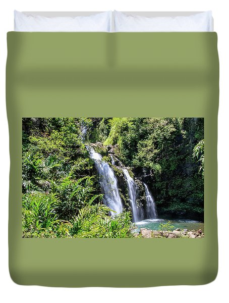 Duvet Cover featuring the photograph Upper Waikani Falls by Dawn Richards