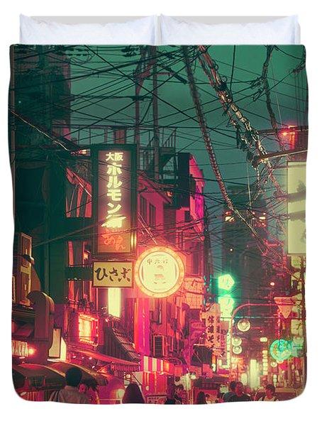 Ura Namba Street Nightlife Osaka Japan Duvet Cover