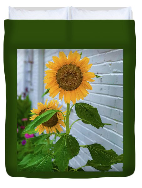 Duvet Cover featuring the photograph Urban Sunflower by Lora J Wilson