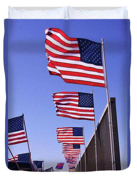 U.s. Flags, Presidents Day, Central Valley, California Duvet Cover