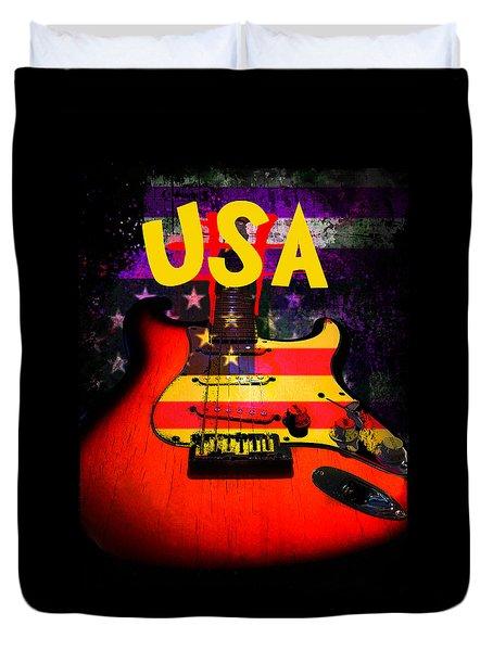 Usa Flag Guitar Purple Stars And Bars Duvet Cover