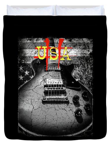 Usa Flag Guitar Relic Duvet Cover
