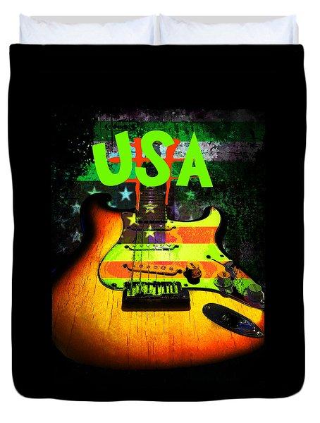 Usa Strat Guitar Music Green Theme Duvet Cover