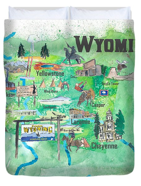 Usa Wyoming State Travel Poster Illustrated Art Map Duvet Cover