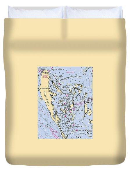 Useppa,cabbage Key,cayo Costa Nautical Chart Duvet Cover