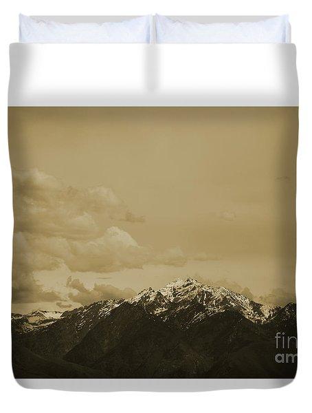 Utah Mountain In Sepia Duvet Cover