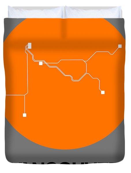 Vancouver Orange Subway Map Duvet Cover