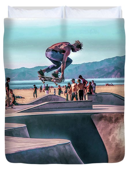 Venice Beach Skateboarder Duvet Cover