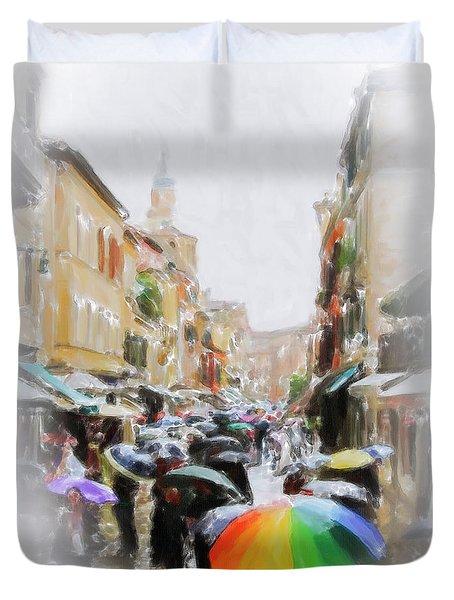 Venice In The Rain Duvet Cover