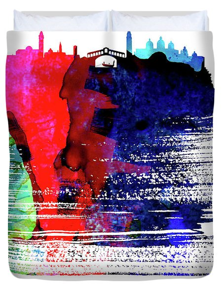 Venice Skyline Brush Stroke Watercolor   Duvet Cover