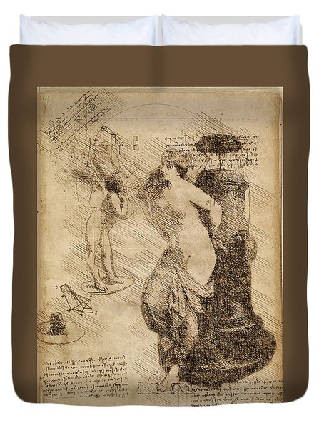 Venus Weigh Cupid Duvet Cover