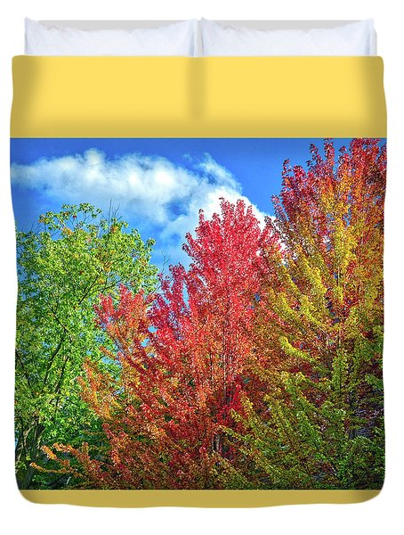 Duvet Cover featuring the photograph Vibrant Autumn Hues At Cornell University - Ithaca, New York by Lynn Bauer