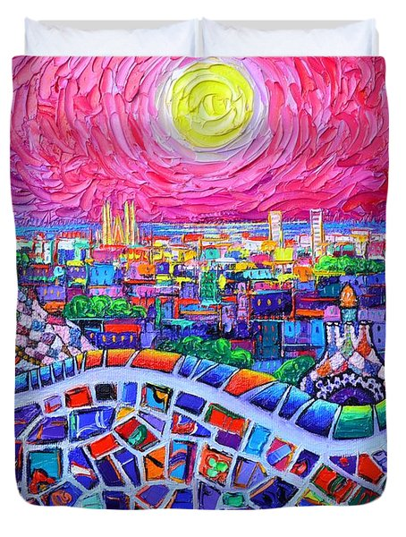 Vibrant Barcelona Night View From Park Guell Modern Impressionism Knife Painting Ana Maria Edulescu Duvet Cover