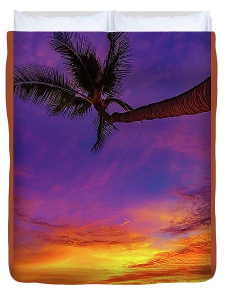 Vibrant Kona Inn Sunset Duvet Cover