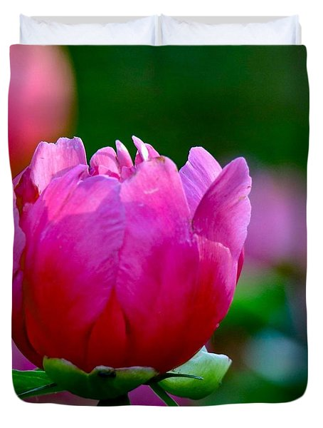 Vibrant Pink Peony Duvet Cover