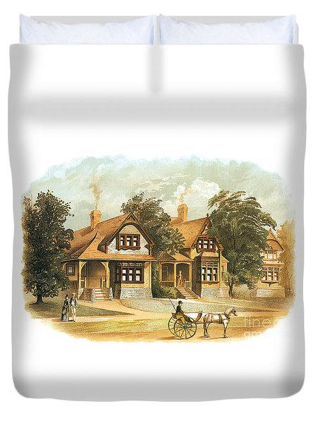 Victorian Houses 19th Century And Horse Carriage Duvet Cover