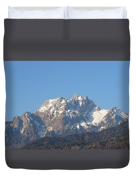 Duvet Cover featuring the photograph View From My Art Studio - Pilatus I - April 2019 by Manuel Sueess