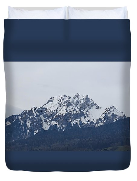 Duvet Cover featuring the photograph View From My Art Studio - Pilatus - March 2018 by Manuel Sueess