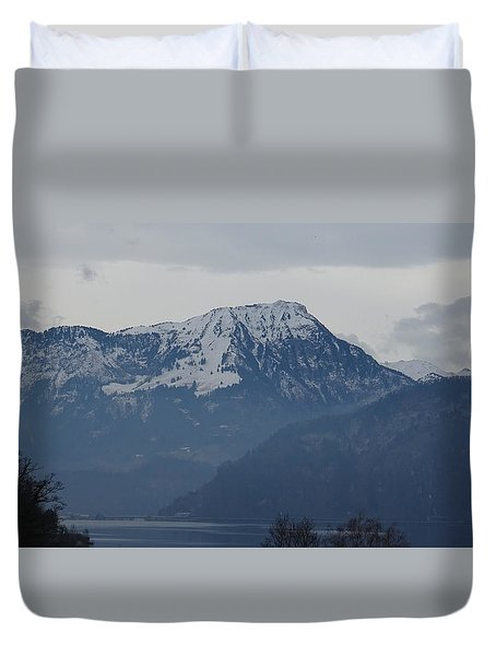 Duvet Cover featuring the photograph View From My Art Studio - Stanserhorn - March 2018 by Manuel Sueess