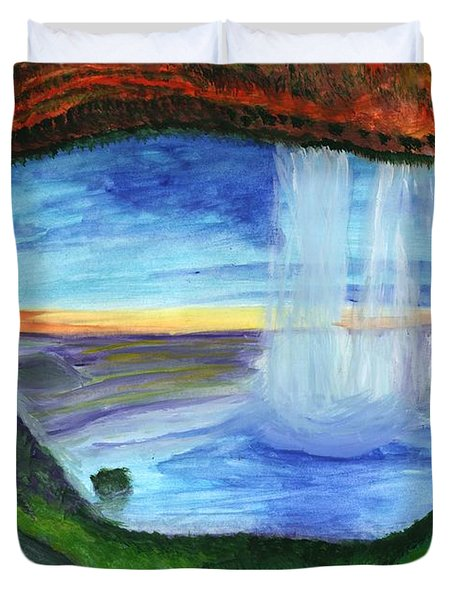 View From The Cave To The Waterfall Duvet Cover